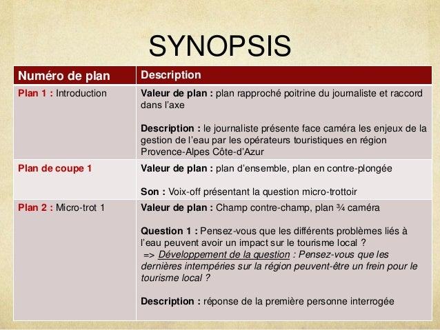 SYNOPSIS  Numéro de plan Description  Plan 1 : Introduction Valeur de plan : plan rapproché poitrine du journaliste et rac...