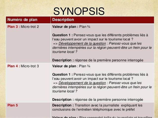 SYNOPSIS  Numéro de plan Description  Plan 3 : Micro-trot 2 Valeur de plan : Plan ¾  Question 1 : Pensez-vous que les diff...