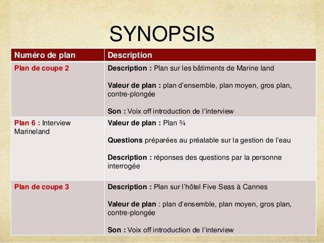 SYNOPSIS  Numéro de plan Description  Plan de coupe 2 Description : Plan sur les bâtiments de Marine land  Valeur de plan ...