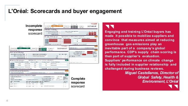 L'Oréal: Scorecards and buyer engagement 6 {{ Engaging and training L'Oréal buyers has made it possible to mobilize suppli...