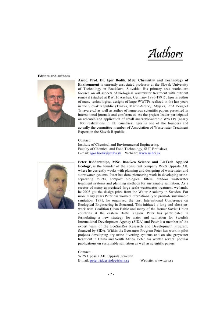 Authors Editors and authors                       Assoc. Prof. Dr. Igor Bodík, MSc. Chemistry and Technology of           ...