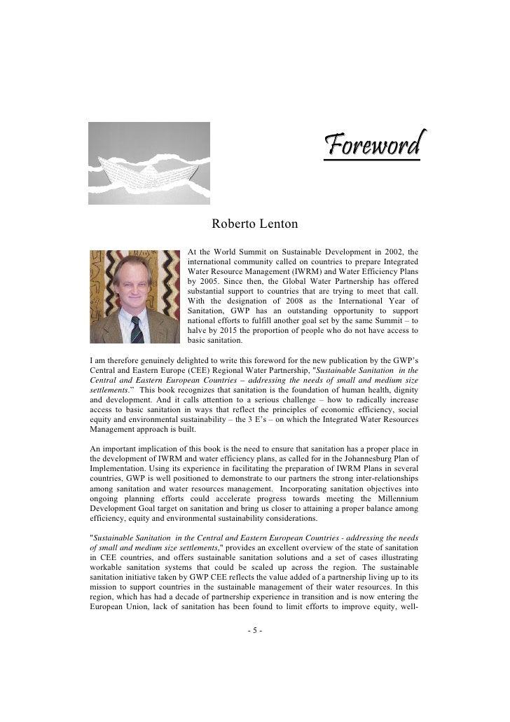 Foreword                                     Roberto Lenton                             At the World Summit on Sustainable...