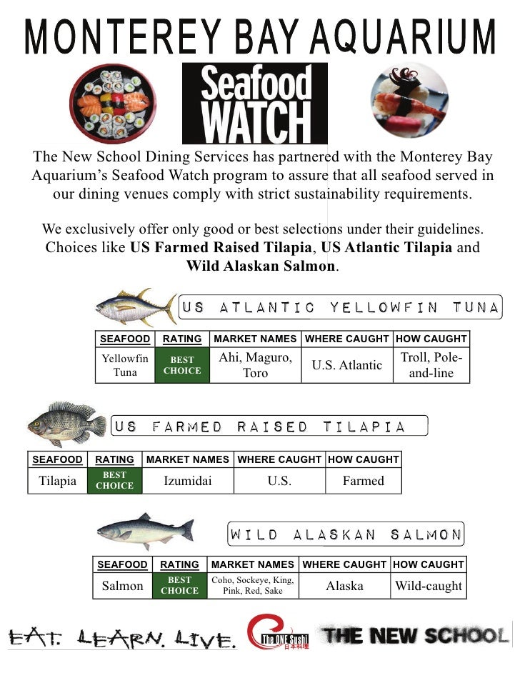 The New School Dining Services has partnered with the Monterey BayAquarium's Seafood Watch program to assure that all seaf...