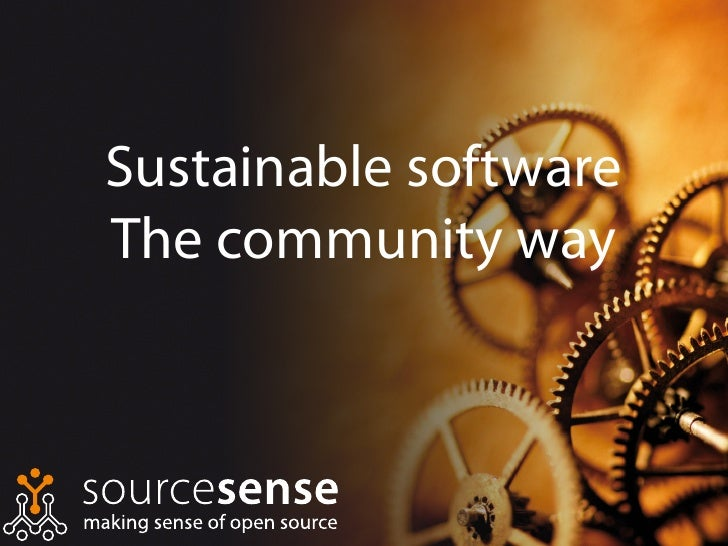 Sustainable software The community way
