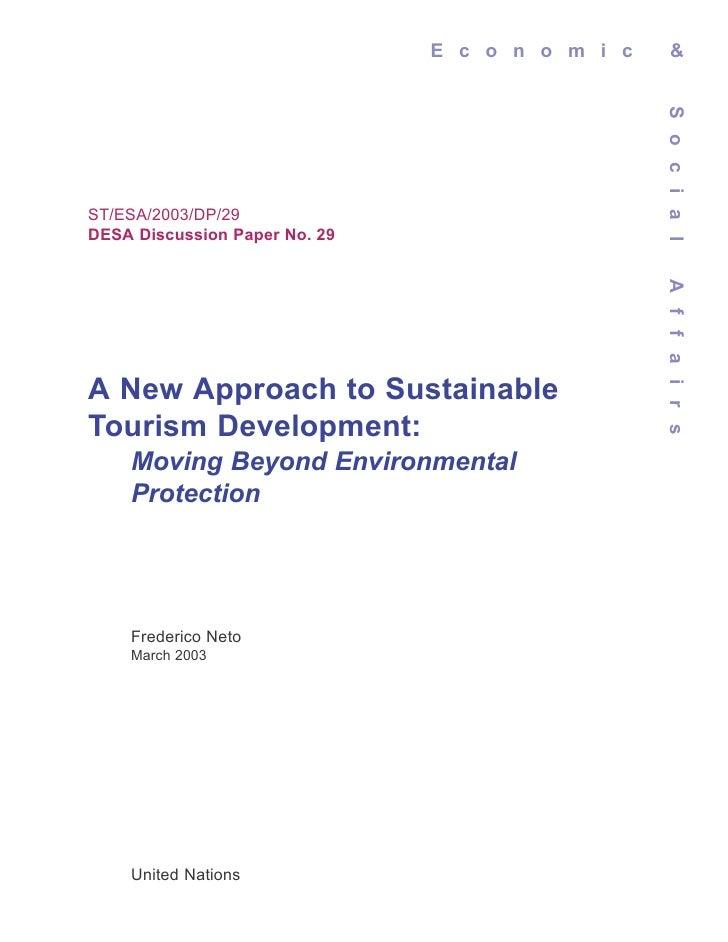 E c o n o m i c     &                                                 S o c i a lST/ESA/2003/DP/29DESA Discussion Paper No...