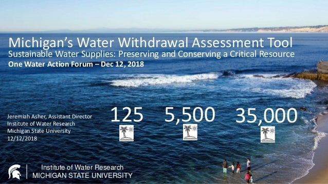 Institute of Water Research MICHIGAN STATE UNIVERSITY Michigan's Water Withdrawal Assessment Tool Sustainable Water Suppli...