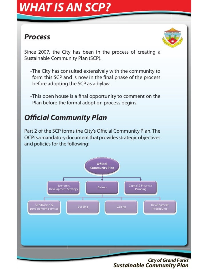 WHAT IS AN SCP?ProcessSince 2007, the City has been in the process of creating aSustainable Community Plan (SCP).  • The C...