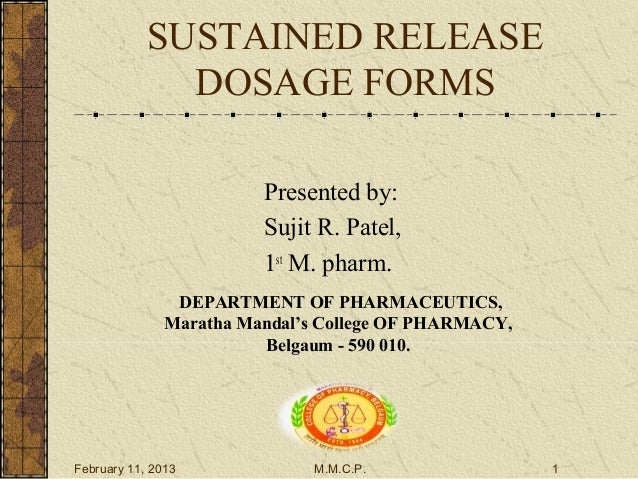Modified release dosage forms fdating