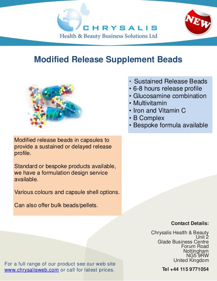 Modified Release Supplement Beads                                                   • Sustained Release Beads             ...