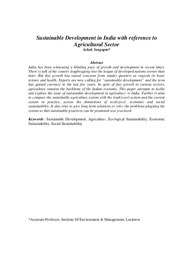 Sustainable Development in India with reference to                    Agricultural Sector                                 ...