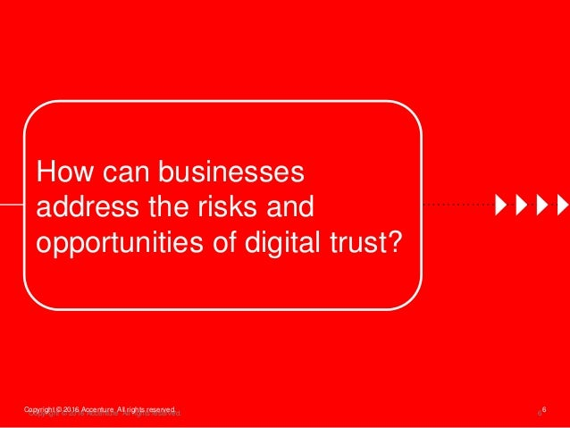 6Copyright © 2016 Accenture All rights reserved. How can businesses address the risks and opportunities of digital trust? ...