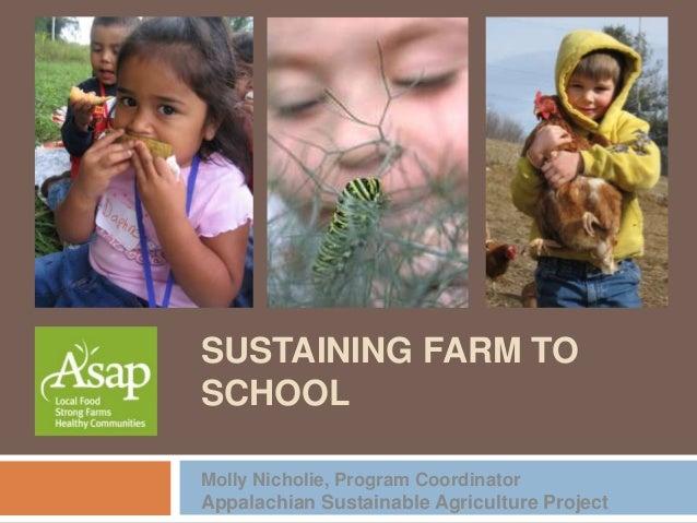 SUSTAINING FARM TOSCHOOLMolly Nicholie, Program CoordinatorAppalachian Sustainable Agriculture Project