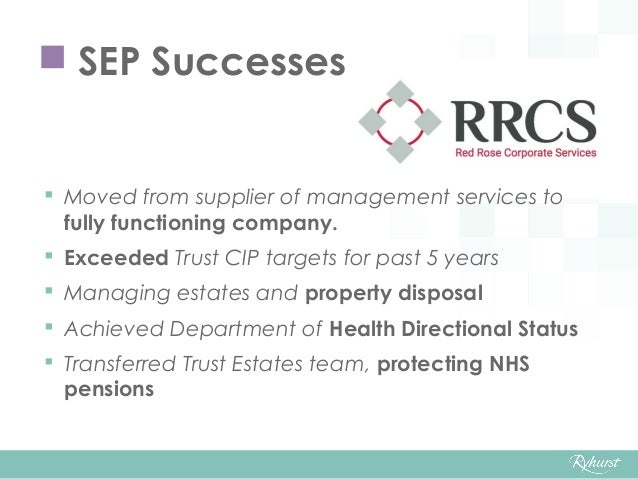  Moved from supplier of management services to fully functioning company.  Exceeded Trust CIP targets for past 5 years ...