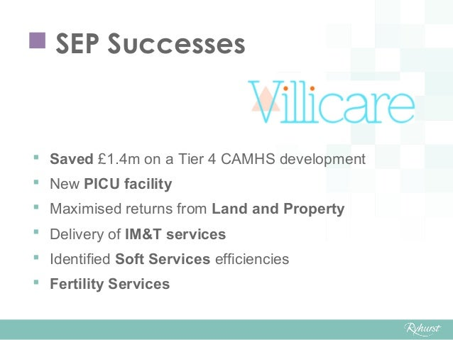  SEP Successes  Saved £1.4m on a Tier 4 CAMHS development  New PICU facility  Maximised returns from Land and Property...