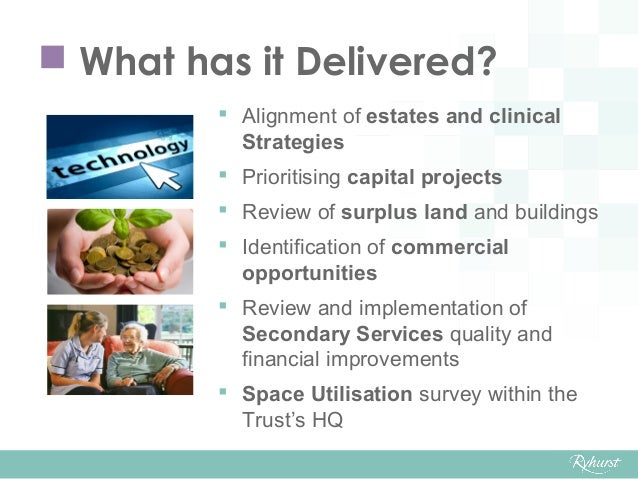  What has it Delivered?  Alignment of estates and clinical Strategies  Prioritising capital projects  Review of surplu...