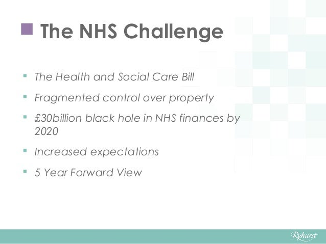  The Health and Social Care Bill  Fragmented control over property  £30billion black hole in NHS finances by 2020  Inc...