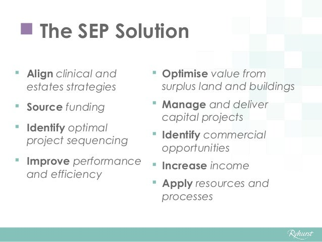  Align clinical and estates strategies  Source funding  Identify optimal project sequencing  Improve performance and e...