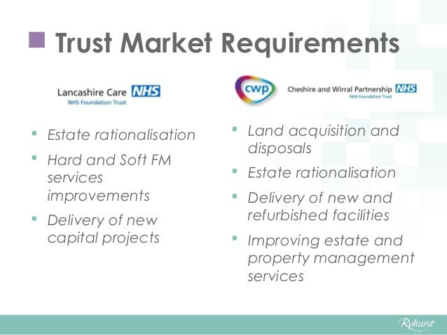  Trust Market Requirements  Estate rationalisation  Hard and Soft FM services improvements  Delivery of new capital pr...