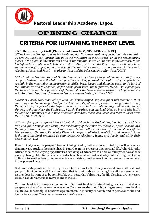 Sustaining the Next Level Retreat Modules SIB brethren