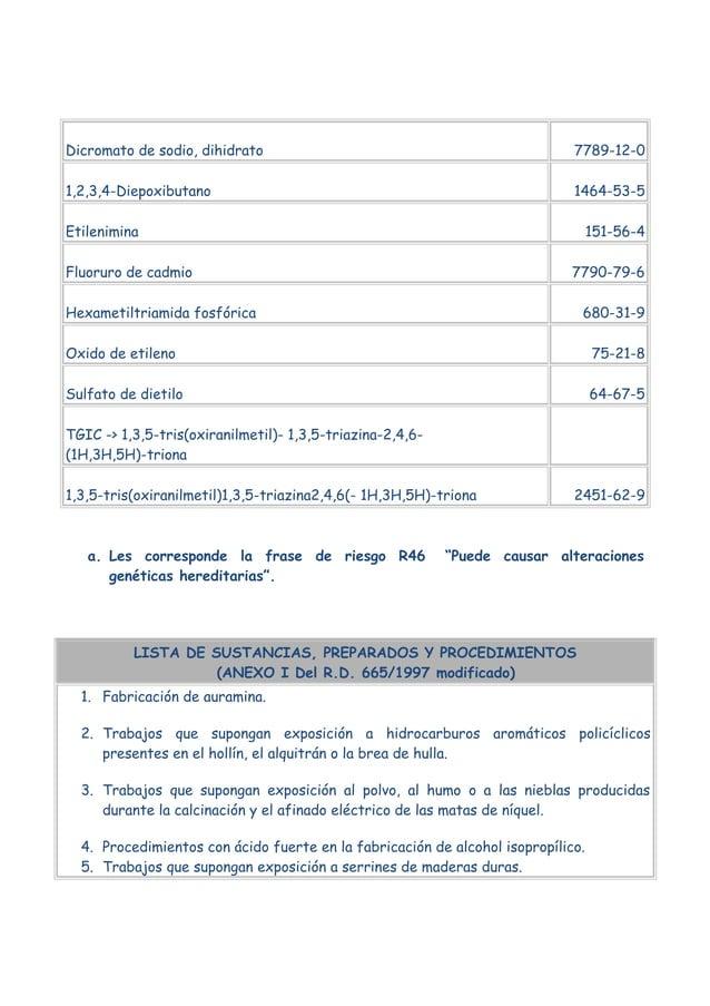 Dicromato de sodio, dihidrato  7789-12-0  1,2,3,4-Diepoxibutano  1464-53-5  Etilenimina  151-56-4  Fluoruro de cadmio  779...