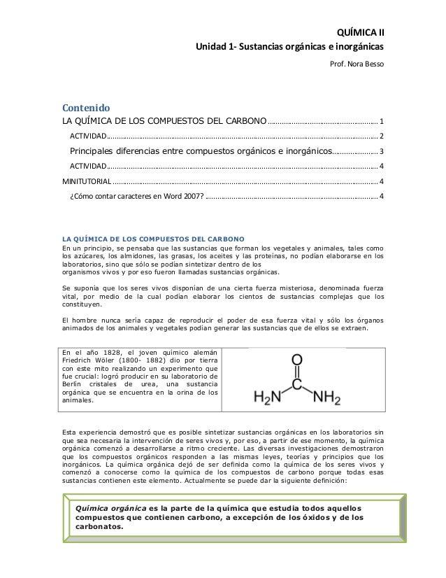 QUÍMICA II                                                             Unidad 1- Sustancias orgánicas e inorgánicas       ...