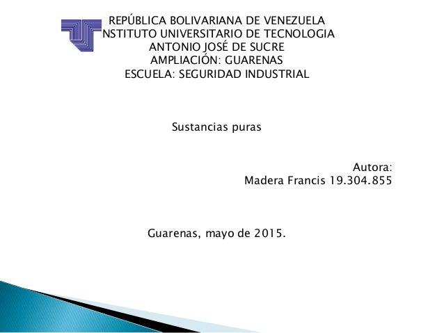 REPÚBLICA BOLIVARIANA DE VENEZUELA INSTITUTO UNIVERSITARIO DE TECNOLOGIA ANTONIO JOSÉ DE SUCRE AMPLIACIÓN: GUARENAS ESCUEL...
