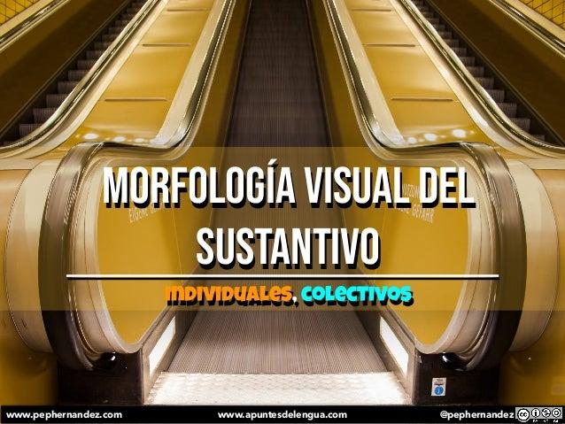 Morfología visual del sustantivo individuales, colectivos www.pephernandez.com www.apuntesdelengua.com @pephernandez