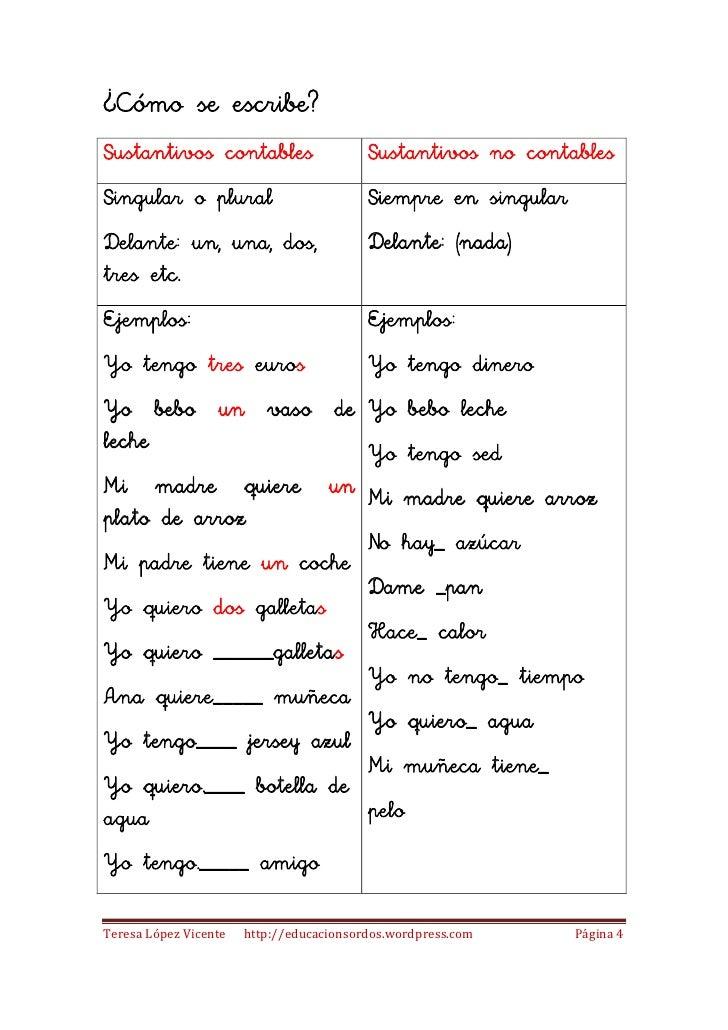 Sustantivos Contables Y Sustantivos No Contables