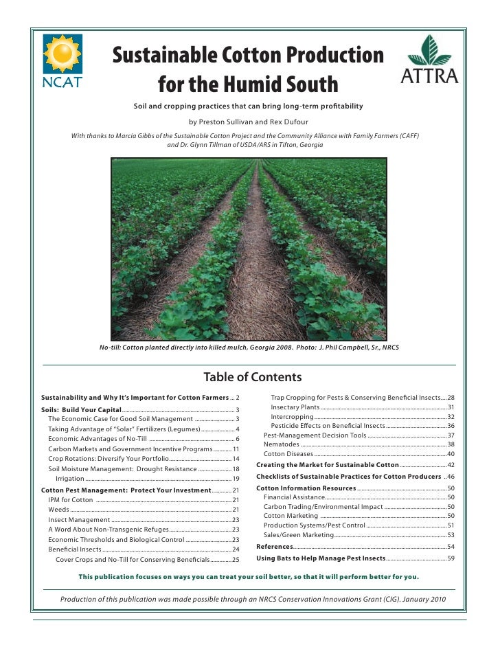 Sustainable Cotton Production                                               for the Humid South                           ...