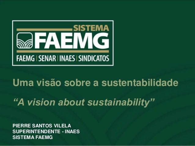 """ESPAÇO RESERVADO PARA O NOME DO PALESTRANTE Uma visão sobre a sustentabilidade """"A vision about sustainability"""" PIERRE SANT..."""