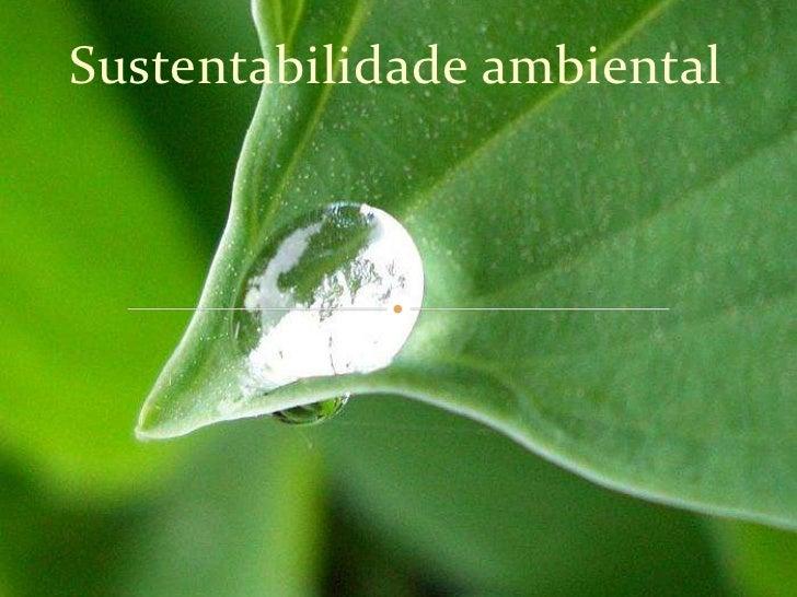 Sustentabilidade ambiental<br />