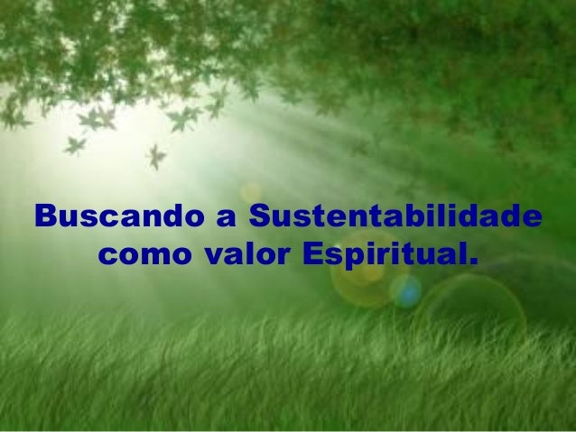 Buscando a Sustentabilidade como valor Espiritual.