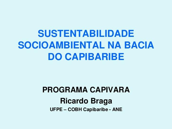SUSTENTABILIDADESOCIOAMBIENTAL NA BACIA     DO CAPIBARIBE    PROGRAMA CAPIVARA       Ricardo Braga     UFPE – COBH Capibar...