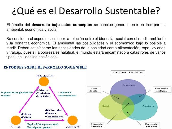 ¿Qué es el Desarrollo Sustentable?El ámbito del desarrollo bajo estos conceptos se concibe generalmente en tres partes:amb...