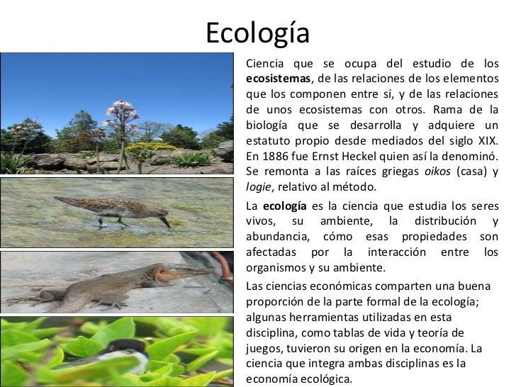 Ecología •   Ciencia que se ocupa del estudio de los     ecosistemas, de las relaciones de los elementos     que los compo...