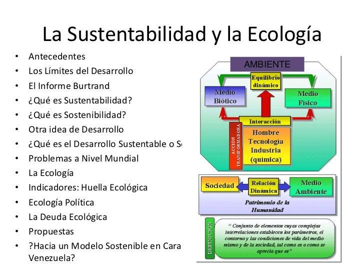 La Sustentabilidad y la Ecología•   Antecedentes                                                      AMBIENTE•   Los Lími...