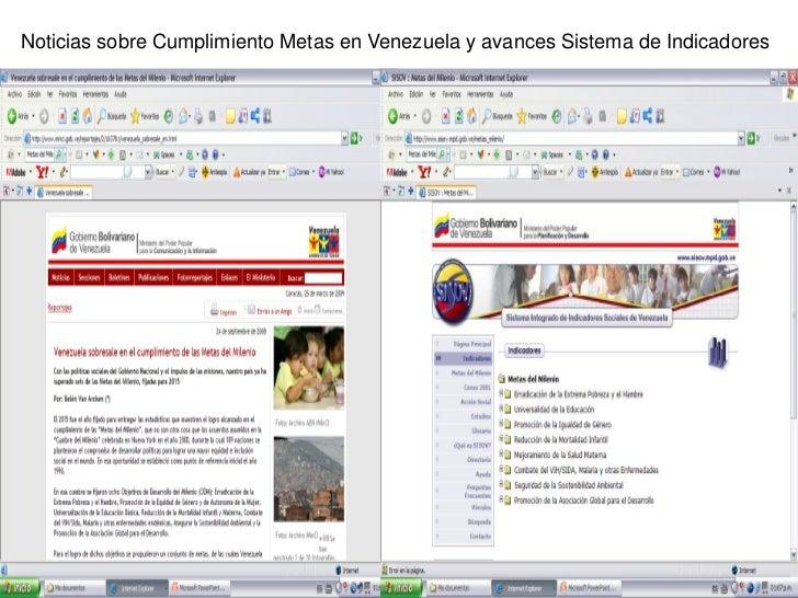 Noticias sobre Cumplimiento Metas en Venezuela y avances Sistema de Indicadores