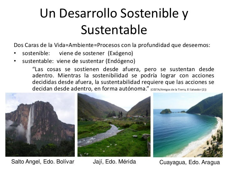 Un Desarrollo Sostenible y                 SustentableDos Caras de la Vida=Ambiente=Procesos con la profundidad que deseem...