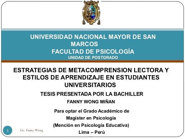 UNIVERSIDAD NACIONAL MAYOR DE SAN                      MARCOS                 FACULTAD DE PSICOLOGÍA                      ...