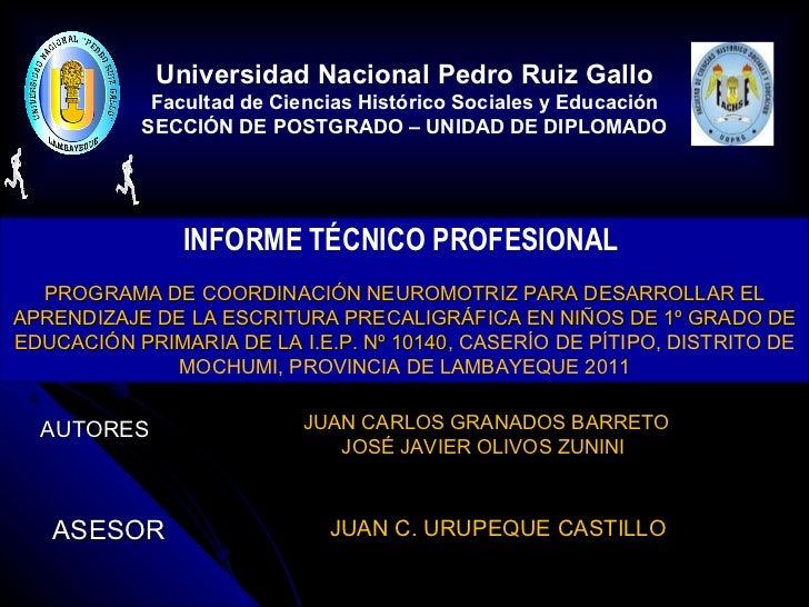 INFORME TÉCNICO PROFESIONAL  PROGRAMA DE COORDINACIÓN NEUROMOTRIZ PARA DESARROLLAR EL APRENDIZAJE DE LA ESCRITURA PRECALIG...