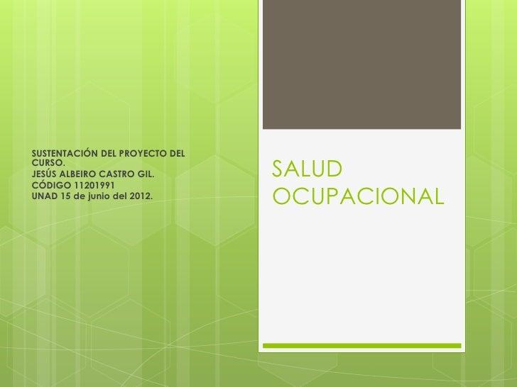SUSTENTACIÓN DEL PROYECTO DELCURSO.JESÚS ALBEIRO CASTRO GIL.CÓDIGO 11201991                                SALUDUNAD 15 de...