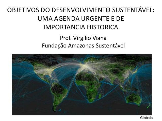 OBJETIVOS DO DESENVOLVIMENTO SUSTENTÁVEL: UMA AGENDA URGENTE E DE IMPORTANCIA HISTORICA Prof. Virgilio Viana Fundação Amaz...