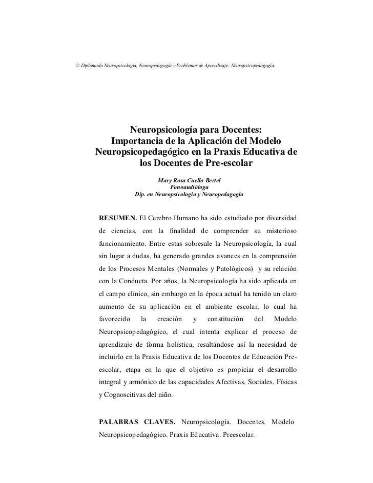 © Diplomado Neuropsicología, Neuropedagogía y Problemas de Aprendizaje: Neuropsicopedagogía.                Neuropsicologí...