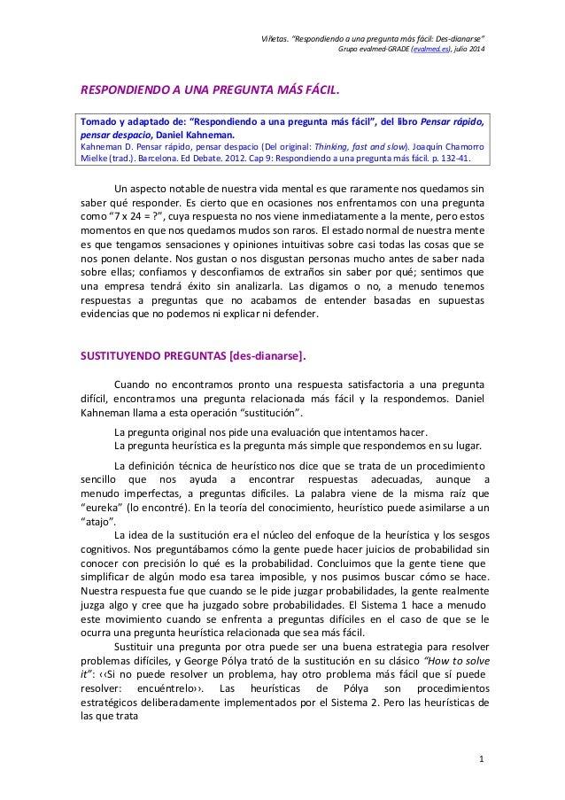 """Viñetas.""""Respondiendoaunapreguntamásfácil:Des‐dianarse"""" Grupoevalmed‐GRADE(evalmed.es),julio2014 1 RESPONDIEN..."""