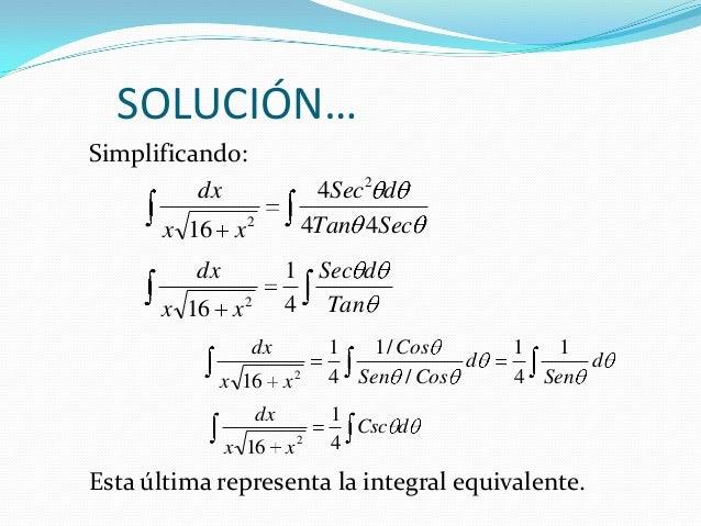 SOLUCIÓN…Simplificando:Esta última representa la integral equivalente.dCscxxdx4116 2dSendCosSenCosxxdx 141//14116 2SecTand...