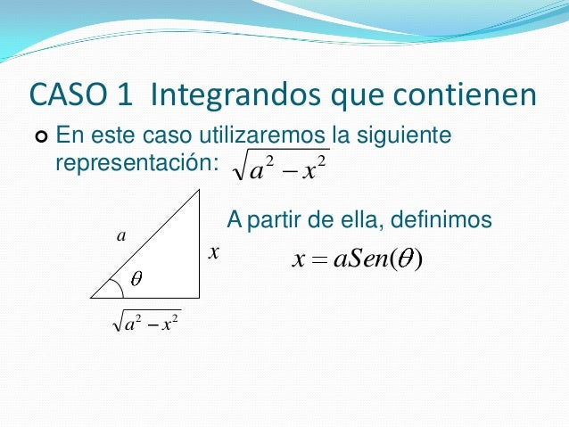 CASO 1 Integrandos que contienen22xa22xa En este caso utilizaremos la siguienterepresentación:A partir de ella, definimos...