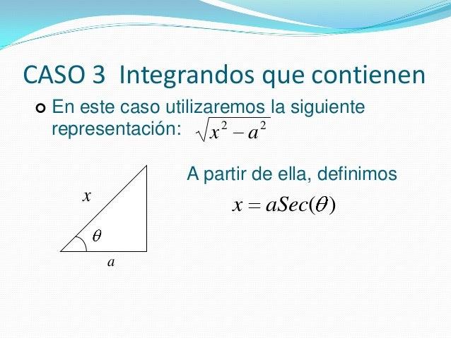 CASO 3 Integrandos que contienen22ax22ax En este caso utilizaremos la siguienterepresentación:A partir de ella, definimos...