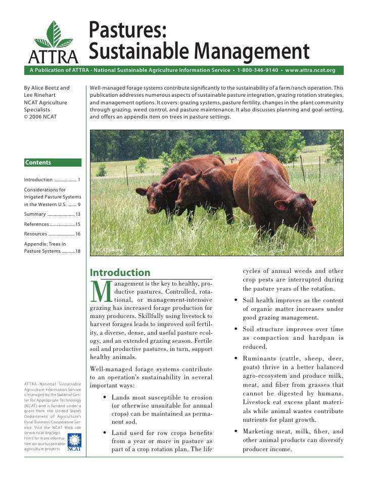 Pastures:  ATTRA                                Sustainable Management   A Publication of ATTRA - National Sustainable Agr...