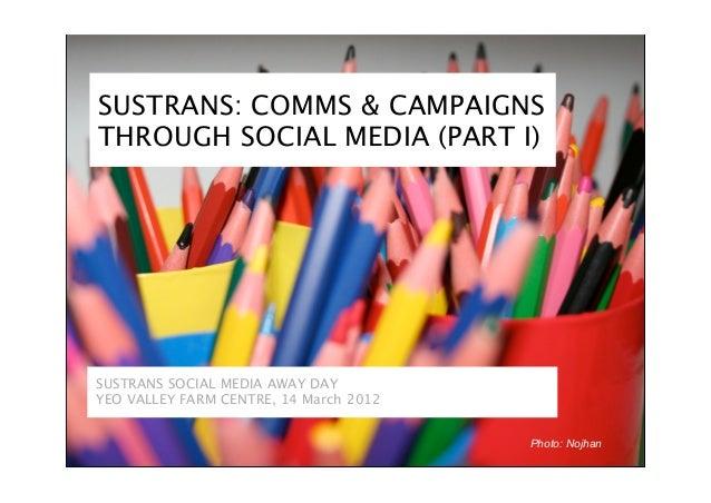 SUSTRANS: COMMS & CAMPAIGNSTHROUGH SOCIAL MEDIA (PART I)SUSTRANS SOCIAL MEDIA AWAY DAYYEO VALLEY FARM CENTRE, 14 March 201...