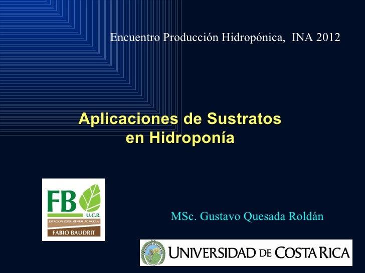 Encuentro Producción Hidropónica, INA 2012Aplicaciones de Sustratos      en Hidroponía              MSc. Gustavo Quesada R...